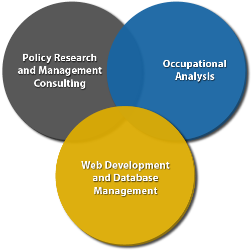 Three overlapping circles depicting SOLID's services: policy research and management consulting, occupational analysis, and web development